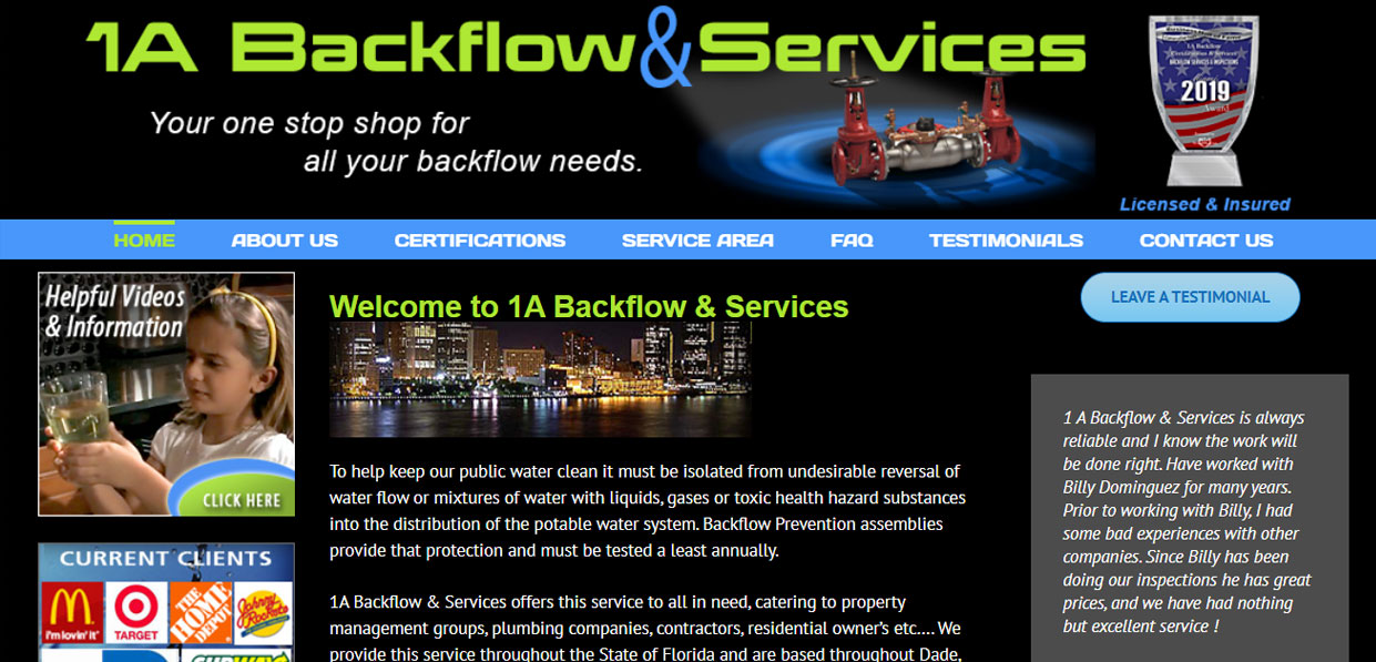 1A BACKFLOW & SERVICES
